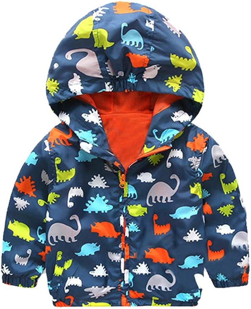 Kehen Manufacturer regenerated product Max 73% OFF Boy's Girl's Dinosaur Print Jacket Zip Windproof Hooded Ra