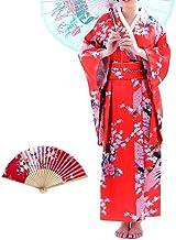 Women's Kimono Costume Adult Japanese Asian Top Dress Robe Sash Belt Fan Set Outfit