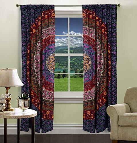 Indian Mandala Print Kitchen cortina de ventana Cortinas & cenefa Set Dorm Tapestry, Cortina de Drape balcón habitación decoración Boho indio establecidos por handicraftspalace