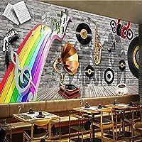 壁紙Photoposter装飾カスタム壁画レトロレンガ壁楽器写真レストランバーKtvカフェ背景壁紙防水-150 * 105Cm壁アート装飾壁画壁紙家の装飾