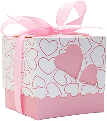 Lance Home Wedding Favor box, 50pcs Wedding Love Element Loving Heart Favour Candy Boxes Party