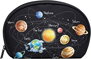 ALAZA Solar System Half Moon Cosmetic Makeup Toiletry Bag Pouch Travel Handy Purse Organizer Bag for Women Girls