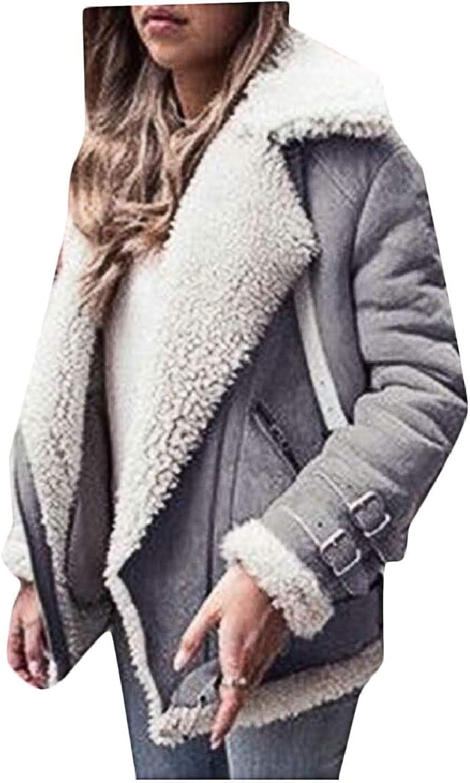 LKCENCA Womens Faux Suede Thick Fleece Lapel Oblique Zip Long Sleeve Jackets