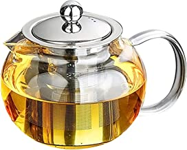 BESTONZON Heat Resistant Glass Teapot High Borosilicate Loose Leaf Teapot with Stainless Steel Strainer 1300ml