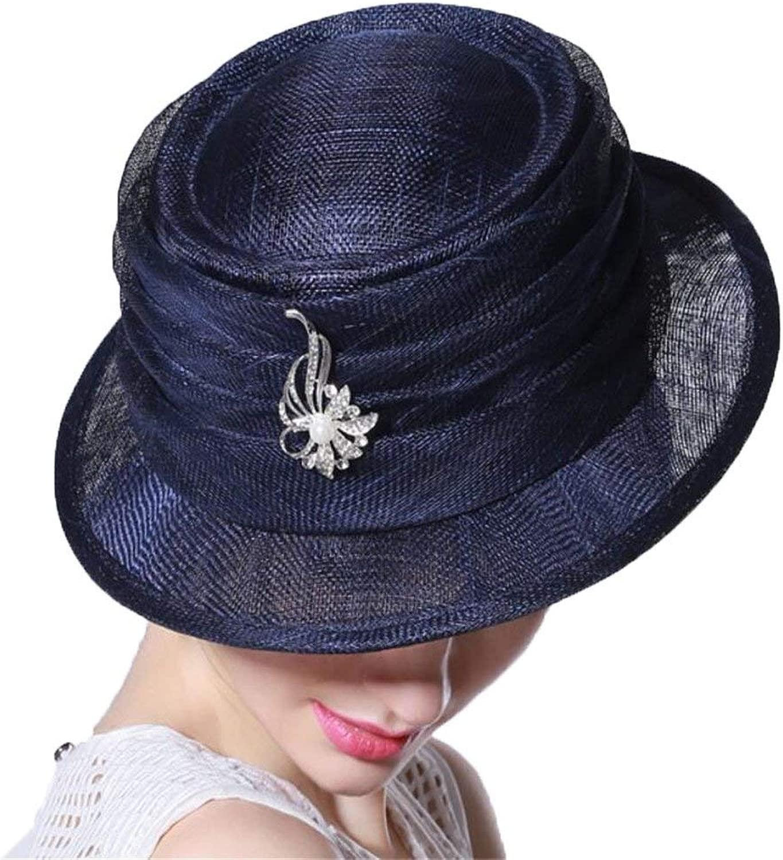 PINGF HOME 純粋に手で気質の貴族の宴会の帽子の女性の夏の旅行のサンバイザーの帽子