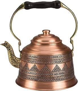 DEMMEX 2017 Heavy Gauge 1mm Thick Hammered Copper Tea Pot Kettle Stovetop Teapot (Engraved Copper)