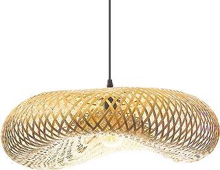 BarcelonaLED Lámpara Mimbre Colgante de Techo Hecha a mano con Bambú Ratán Madera Natural Estilo Decorativo Asiático Vintage Creativo para Salón de Té Comedor Bar Cocina Casquillo E27