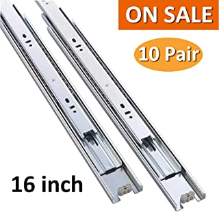 Cuaulans 10 Pair 16 inch Full Extension Side Mount Ball Bearing Sliding Drawer Slides, Mounting Screws Included, Available in 10 inch, 12 inch, 14 inch, 16 inch, 18 inch, 20 inch and 22 inch Lengths