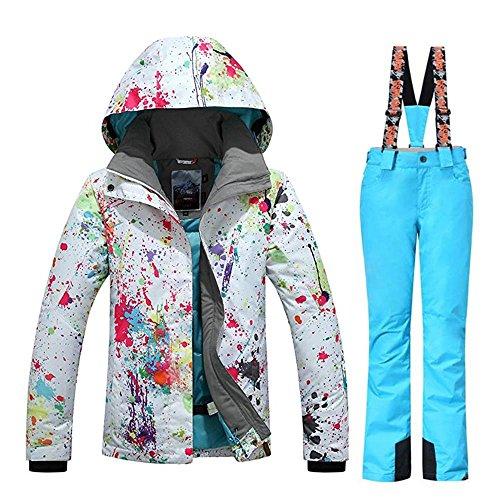 Damen Schneeanzug, modisch, winddicht, wasserdicht, bunt bedruckt, Skijacke, Damen, stil 4, X-Small
