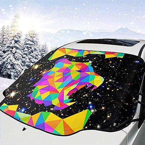 Tridge Bunte geometrische Wolfskopf Auto Windschutzscheibe Schneedecke für Auto Frontscheibe Ice Cover Protector wasserdicht