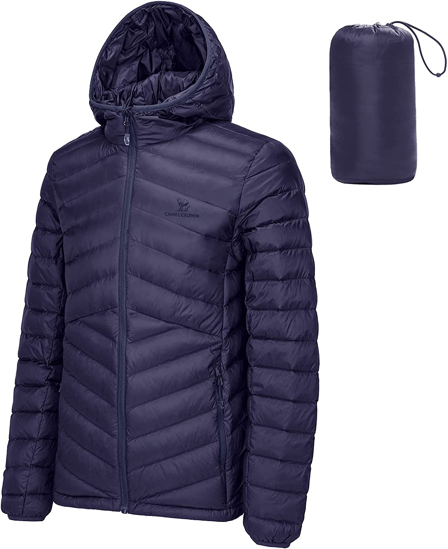CAMEL CROWN Men's Packable Down Japan Maker New Popular Puffer Jacket Hooded Lightweight