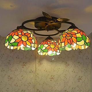Pastoral Ceiling Lamp Antique Sun Flower Ceiling Lamp Bedroom Living Room Study Bar Ceiling Lamp (Size : 3)
