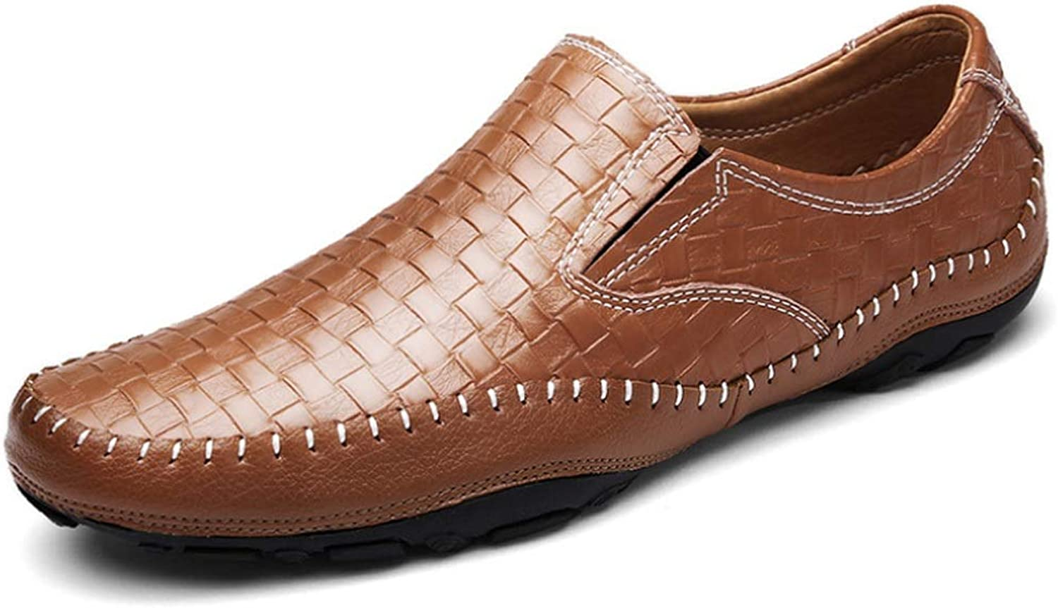 WWJDXZ Men's Weave Leather shoes Breathable Driving shoes Loafer Flats Casual Slip On Moccasins Boat shoes Moccasin-Gommino Casual