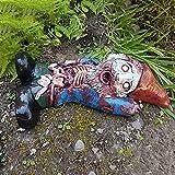 EliteMill Nain de jardin zombie en résine - Unique et durable - Sculpture de festival, décoration faite à la main