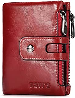 Mens Leather Bag Hot Style Leather Wallet Kavis European and American Fashion Short Men's Wallet with Double Zipper and Large Capacity Bag (Color : Red, Size : S)