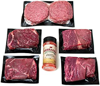 Aged Angus Top Sirloin and Premium Ground Beef Patties by Nebraska Star Beef - All Natural Hand Cut and Trimmed and Includes Seasoning - Gourmet Package Delivered to Your Door