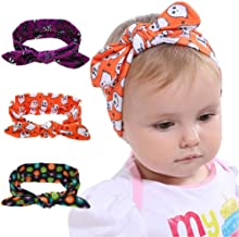 Lurrose 3pcs Baby Girls Headband Halloween Ghost Printed Hairbands Bow Knotted Headwrap for Newborn,Toddler and Children