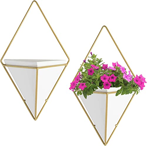 wholesale Royal Imports Flower Vase Wall Hung Hanging Ceramic Succulent Planter high quality discount Pot, White with Gold-Metal Geometric Wall Decor, Set of 2 outlet sale
