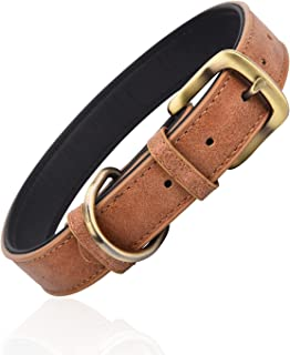 Classic Leather Dog Collar for Small Medium Large Dogs Padded Soft and Strong Adjustable Pet Collars Heavy Duty Dog Collar...