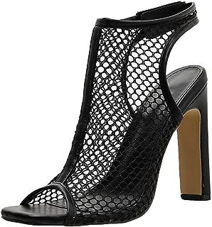 Jesper Women Peep Toe Chunky Stacked Block Heel Slingback Ankle Bootie Sexy Fishnet Nightclub Sandals Shoes