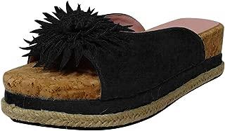 Funnygals - Womens Ladies mid high Wedge Heel peep Toe Slip on Mules Platform Sandals flip Flops Slippers Plus Size