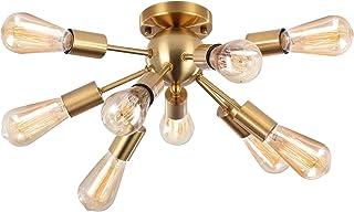 ENCOFT Moderno Sputnik Lámpara de Techo Iluminación Colgante E27 Lámparas de Araña Metal Ligero para Sala de Estar Dormitorio Loft Cafe Studio Bombillas Not Incluidas (Latón, 9-Arm)