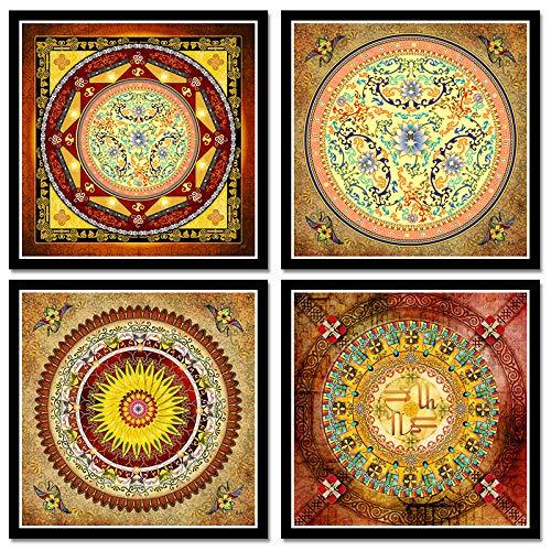 ZDFDC Tibetische Thangka Mandala Kunst Gemälde Buddha Kultur Spirituelle Leinwand Wandkunst Bilder Home Decor Leinwand Malerei-40x40cmx4 kein Rahmen