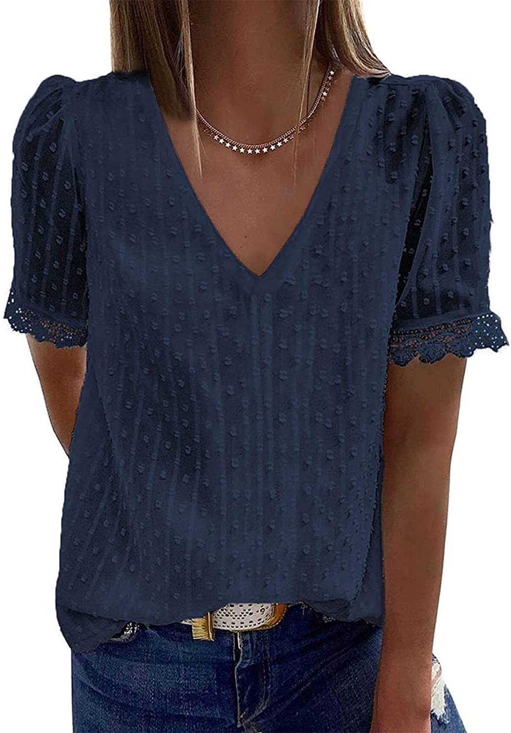 Womens Tops, Women'S Lace Blouses V Neck Short Sleeve Shirts Blouses Vintage Elegant Tunic Tops Casual Summer Tees