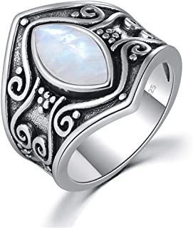 MARRLY.H Large Natural Moonstone Black Silver Rings Signet Crescent Ring Ethnic Tribe Gothic Vintage Party Jewelry Man Woman