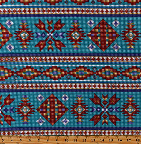 Cotton Southwestern Stripes Beadwork-Look Native American Aztec Tribal Designs Pixelated Tucson Turquoise Cotton Fabric Print by The Yard (D362.23)
