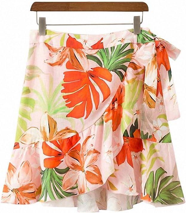 Dawery Womens Elegant Floral Print Ruffled Skirt Faldas Mujer Bow Tie Sashes Irregular Ladies Sweet Casual Chic Mini Skirts