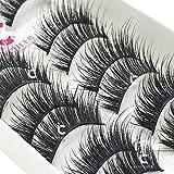 ICYCHEER 10 Pairs Long Cross False Eyelashes Makeup Natural 3D Fake Thick Black Eye Lashes