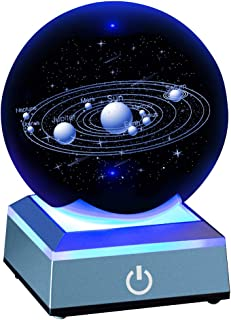 Solar System Crystal Ball 80mm with 3D Laser Engraved Sun System with a Touch Switch LED Light Base Cosmic Model with Names of Various Celestial Bodies