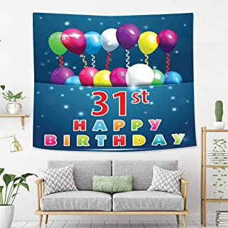Colorful Art Design Tapestry 31st Birthday Decorations Joyful Occasion Party Theme with Colorful Balloons Flying 31 Year Tapestry, Living Room Bedroom Decoration Tapestry, Mattress, Tablecloth