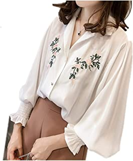 Women Ladies Embroidered Long Sleeve Shirt Turn-Down Collar Blouse Tops