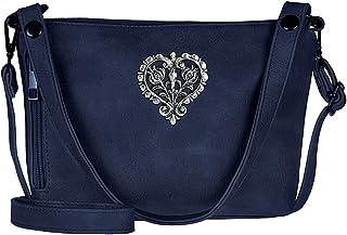 TaschenSensation Trachten-Handtasche Dirndltasche Umhängetasche Kunst-Leder dunkel-blau