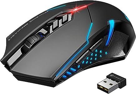 VicTsing Mouse Gaming Wireless Mouse da Gioco Silenzioso, 7 Pulsanti Tranquilli, per PC Laptop Computer, Nero