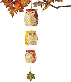 Collections Etc Owl Trio Windchimes with Maple Leaf Accent - Indoor or Outdoor Fall Decoration