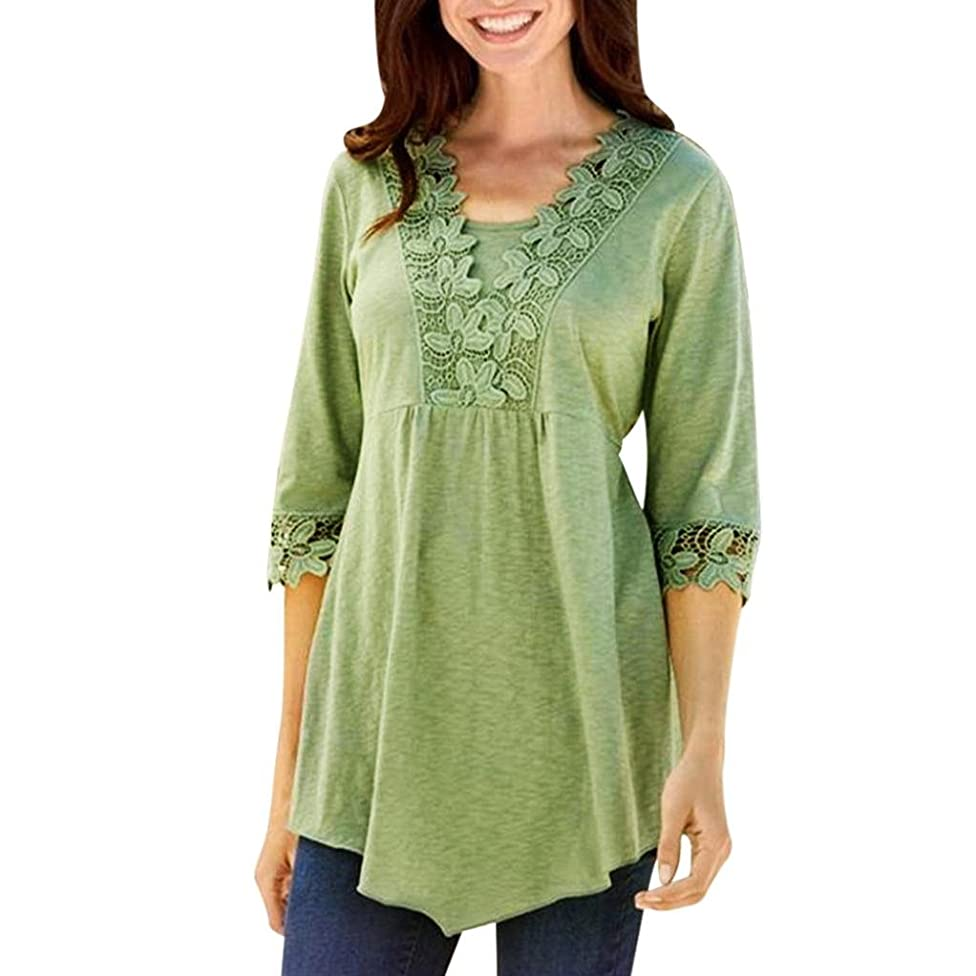 Elogoog Women's Floral Lace Blouse Half Sleeve Loose T-shirt Pleated Casual Tunic Top