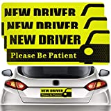 QSUM New Driver Magnet Safety Sign for car,Please be Patient 3Pcs 10x3.5inch Highly Reflective Magnet Sticker for Novice or Beginner (Black)