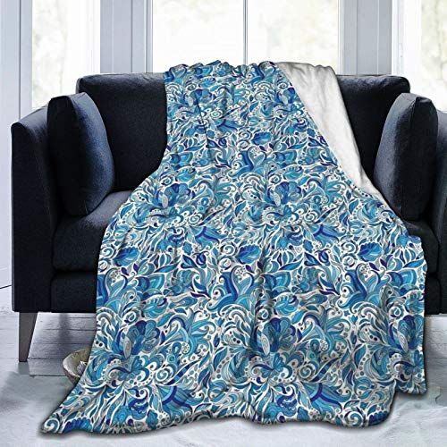 Ultra-Soft Fleece Blanket for Adult Anti Fleece Blanket,Turkish Ceramic Art Swirled Nature Leaves Middle Eastern Design Print,Soft Comfortable Sofa Throw Blanket 50'x40'