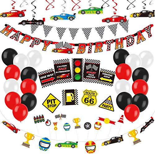 Decorlife Cars Party Decorations, Race Car Birthday Party Supplies, Happy Birthday Banner, Balloons, Checkered Flag Bunting, Hanging Swirls, Photo Booth Props, Traffic Signs, Racing Car Garland Cupcake Toppers Included - Total 71 PCS