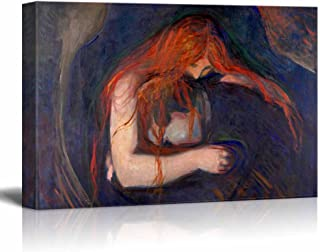 wall26 - Vampire by Edvard Munch Painting - Canvas Art Wall Decor - 24
