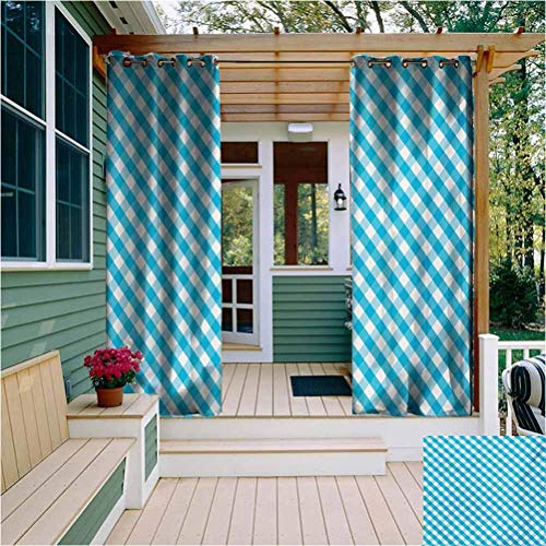 Checkered Indoor Outdoor Curtain Diagonal Stripes in Aqua Color Monochrome Crossed Lines in Classical Tile Design Easy to Clean W108 x L96 Inch Aqua White