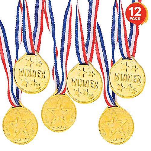 ArtCreativity Gold Prize Medal for Kids, Set of 12 Medals on Ribbon Necklaces, Olympic Style Metal Winner Awards for Sports, Talent Show, and Spelling Bee, Gymnastic Birthday Party Favors