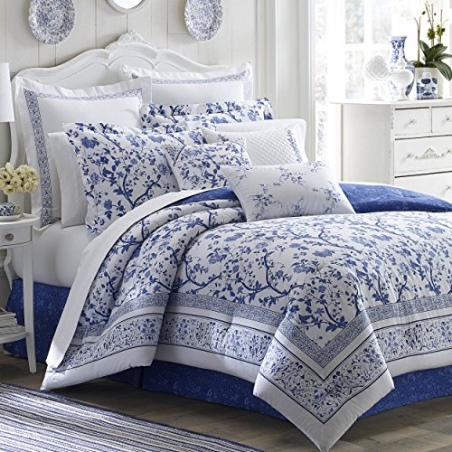 Laura Ashley Home | Charlotte Collection | Luxury Ultra Soft Comforter, All Season Premium 4 Piece Bedding Set, Stylish Delicate Design for Home Décor, King, China Blue