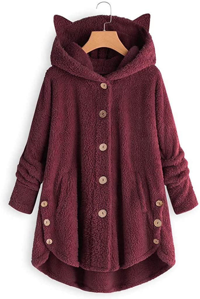 iHENGH Damen Herbst Winter Bequem Lässig Mode Jacke Frauen Mode Frauen Knopf Mantel Flauschige Schwanz Tops Mit Kapuze Lose Mantel A Wein-1