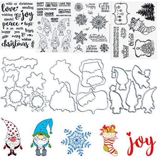 4 Sheets Christmas Clear Stamps and 4 pcs Christmas Cutting Dies Santa Hat Santa Claus Xmas Tree Snowflake Merry Christmas Words Silicone Stamps with Cut Dies for Christmas Card Making Scrapbooking