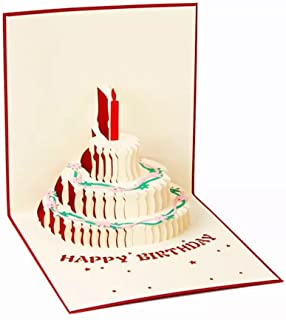 Handmade 3D Pop Up Birthday Cards Creative Greeting Cards Papercraft (90° Happy Birthday Cake(Red))