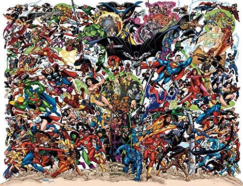 UYTRE Comics DC Collage Diamante Pintura Kits, DIY 5D Punto de Cruz Diamante Principiante, Diamante Craft Decoración de la pared del Hogar regalo de cumpleaños (H-40 cm x M/B-60 cm)